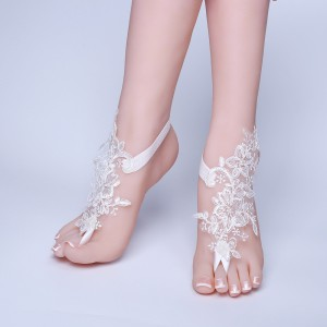 Beach Wedding Barefoot Sandals, Beach Wedding,  Beach Pool Lace Bride Anklet,  AF1310003