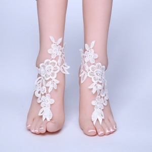 Beach Wedding Barefoot Sandals, Beach Pool Lace Bride Anklet Beach Wedding AF1310008