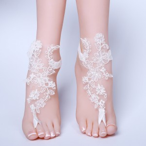 Beach Wedding Barefoot Sandals, Belly Dance, Beach Pool AF1310009 Lace Bride Anklet Beach Wedding