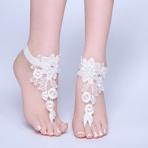 Beach Wedding Barefoot Sandals, Lace Bride Anklet Beach Wedding, Belly Dance, Beach Pool AF1310010
