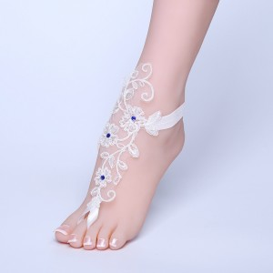 Beach Wedding Barefoot Sandals, Lace Bride Anklet Beach Wedding, Belly Dance, AF1310018