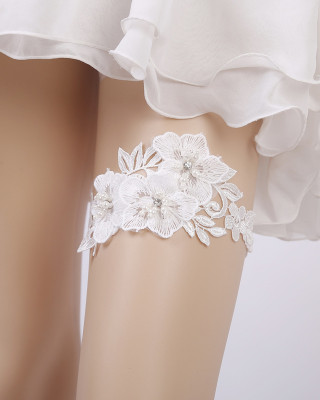Classical Garter of the Bride from elastic Lace with  Beads AS1310001