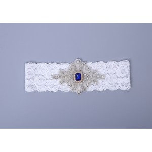 Elegant Garter of the Bride from elastic Lace with  Crystals AS1310003