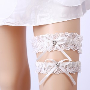 Two Pieces Classical Garter of the Bride from elastic Lace with  Crystals AS1310006