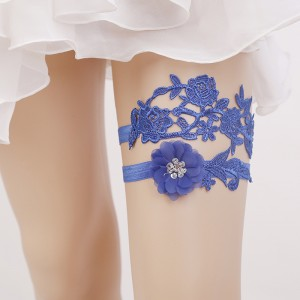 Two Pieces Classical Garter of the Bride from elastic Lace with  Crystals AS1310007