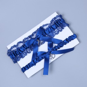 Two Pieces Classical Garter of the Bride from elastic Lace with  Bows AS1310008