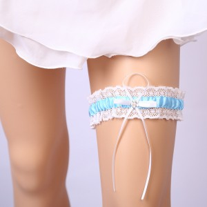Elegant Garter of the Bride from elastic Lace with  Bows AS1310014