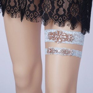 Two Pieces Classical Garter of the Bride from elastic Lace with  Crystals AS1310017