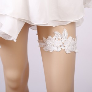 Elegant Garter of the Bride from elastic Lace with  Applique AS1310018