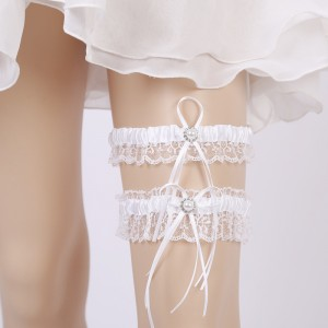 Two Pieces Elegant Garter of the Bride from elastic Lace with  Beads AS1310020