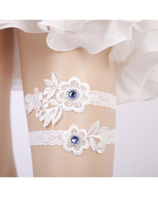 Two Pieces Elegant Garter of the Bride from elastic Lace with  Crystals AS1310021