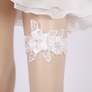 Elegant Garter of the Bride from elastic Lace with  Applique AS1310029