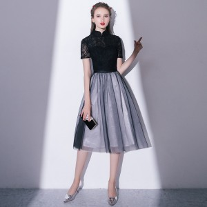 A-Line High Collar Knee-length Lace/Tulle Cocktail Dress C1309005