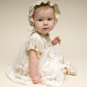 A-Line Floor-Length Christening Robe - Lace Short Sleeves Jewel-Neck CH1310002