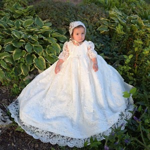 A-Line Floor-Length Christening Robe - Lace 1/2 Sleeves Jewel-Neck CH1310003