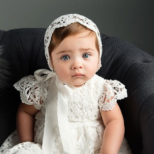 A-Line Floor-Length Christening Robe - Lace Short Sleeves Jewel-Neck CH1310004