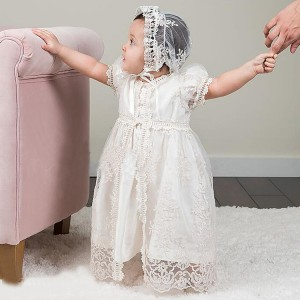 A-Line Floor-Length Christening Robe - Lace Short Sleeves Jewel-Neck CH1310005