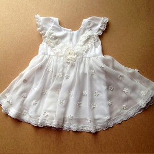 A-Line Floor-Length Christening Robe - Lace/Tulle Short Sleeves Jewel-Neck CH1310006