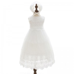 A-Line/Princess-Line Floor-Length Christening Robe - Lace/Tulle Sleeveless Jewel-Neck CH1310008