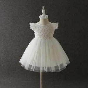 A-Line/Princess-Line Floor-Length Christening Robe - Lace/Tulle Sleeveless Jewel-Neck CH1310009