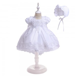 A-Line/Princess-Line Floor-Length Christening Robe - Satin Short Sleeves Jewel-Neck CH1310014