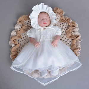 A-Line/Princess-Line Floor-Length Christening Robe - Lace/Tulle Short Sleeves Jewel-Neck CH1310015
