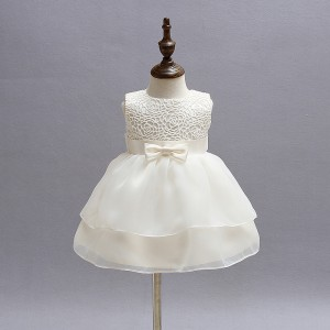A-Line/Princess-Line Floor-Length Christening Robe - Lace/Chiffon Sleeveless Jewel-Neck CH1310016