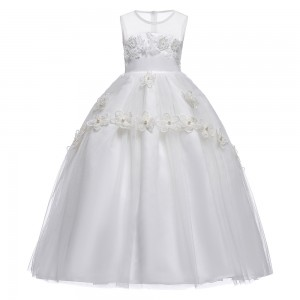 A-Line/Princess-Line Ankle-length First Communion Dress - Tulle Sleeveless Jewel-Neck FI1310004
