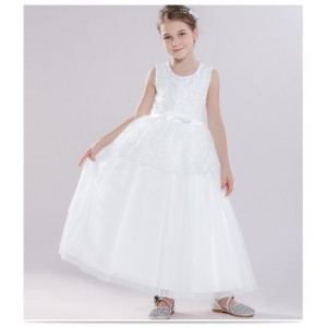 A-Line Floor-Length First Communion Dress - Tulle Sleeveless Jewel-Neck FI1310005