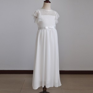 A-Line Floor-Length First Communion Dress - Lace/Chiffon Sleeveless Jewel-Neck FI1310010