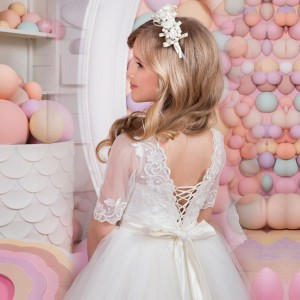 A-Line/Princess-Line Floor-Length First Communion Dress - Lace/Tulle 1/2 Sleeves Jewel-Neck FI1310011
