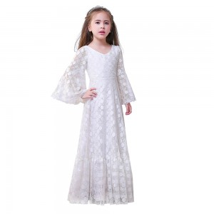 A-Line Floor-Length First Communion Dress - Lace 3/4 Sleeves V-Neck FI1310012