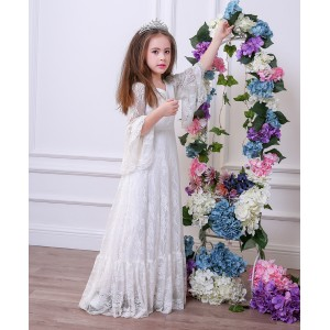 A-Line Floor-Length First Communion Dress - Lace Long Sleeves V-Neck FI1310013