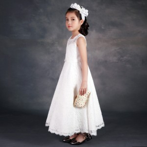 A-Line Ankle-length First Communion Dress - Lace Sleeveless Scoop-Neck FI1310014