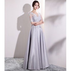 A-Line Scoop-Neck Floor-Length Lace/Satin Guests of the Bride Dresses G1309002