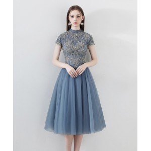 A-Line High Collar Knee-length Lace/Tulle Guests of the Bride Dresses G1309003