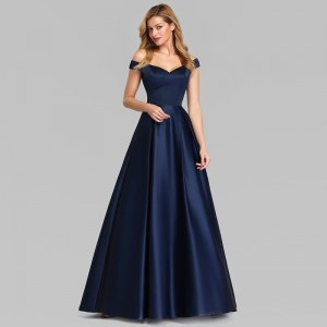 A-Line Off-the-Shoulder Floor-Length Satin Prom Dress/Guests of the Bride Dresses G1310002
