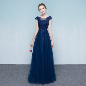 A-Line Scoop-Neck Floor-Length Lace/Tulle Guests of the Bride Dresses G1310005