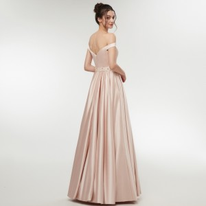A-Line Off-the-Shoulder Floor-Length Satin Prom Dress Guests of the Bride Dresses G1310010