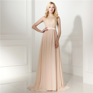 A-Line Jewel-Neck Floor-Length Lace/Chiffon Prom Dress G1311029
