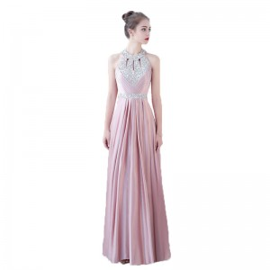 A-Line Halter-Neck Floor-Length Satin Prom Dress G1311030