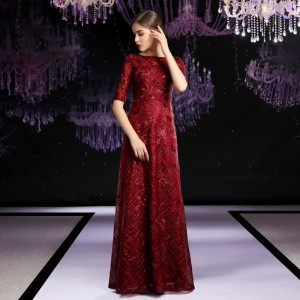 A-Line Bateau Floor-Length Lace Evening Dress E1309017