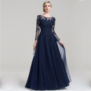A-Line Scoop-Neck Floor-Length Lace/Tulle Mother of the Bride Dress M1309033