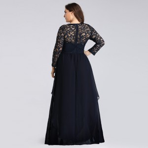 A-Line Scoop-Neck Floor-Length Lace/Chiffon Mother of the Bride Dress M1309034