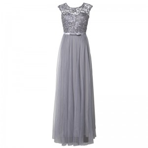 A-Line Scoop-Neck Floor-Length Lace/Tulle Mother of the Bride Dress M1309038