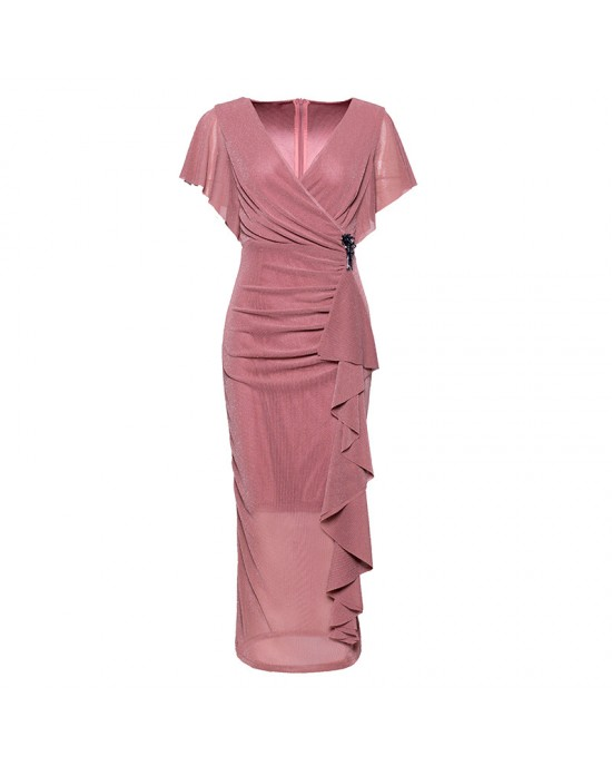 Sheath/Column-Line V-Neck Tea-length Satin Mother of the Bride Dress M1309044