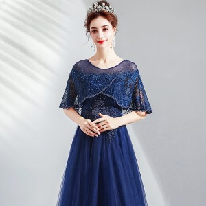 A-Line Scoop-Neck Floor-Length Lace/Tulle Mother of the Bride Dress M1309052