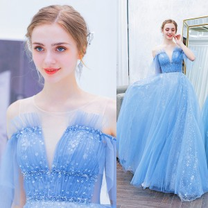 A-Line Jewel-Neck Floor-Length Tulle Prom Dress P1308023