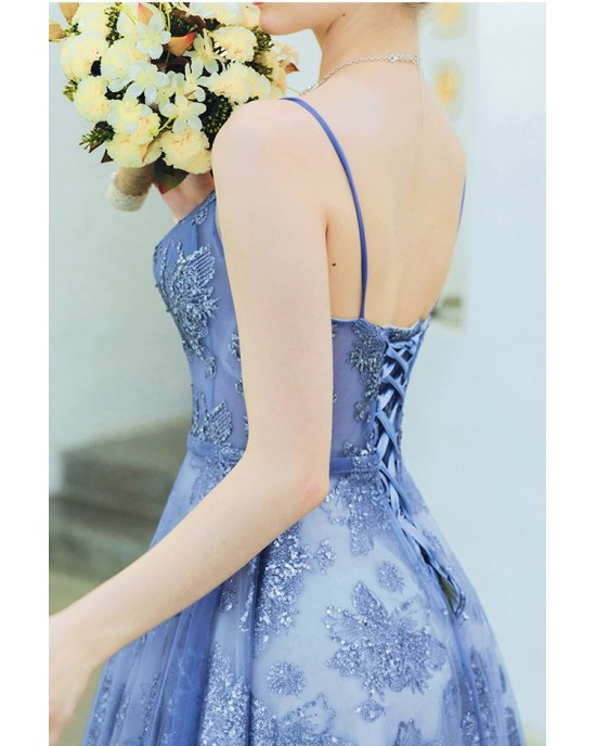 A-Line Spaghetti-Strap Floor-Length Lace/Tulle Prom Dress P1308034
