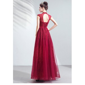 A-Line High Collar Floor-Length Tulle Prom Dress P1308041